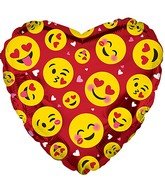 "9"" Airfill Only Smile Faces Luv Red Foil Balloon"