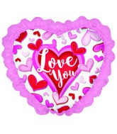 "32"" Love You Stitched Hearts With Lace Foil Balloon"