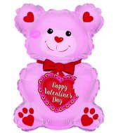 "20"" Happy Valentine&#39s Day Pink Teddy Bear Foil Balloon"