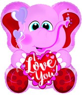 "26"" I Love You Pink Elephant Foil Balloon"
