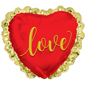 "31"" Love With Gold Ruffles Balloon"