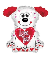 "12"" Love You Red and White Doggie Balloon"