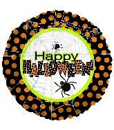"18"" Happy Halloween Spider Web Polka Dots"