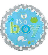 "17"" It&#39s A Boy Baby Icons Balloon"