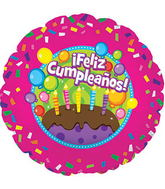 "17"" Feliz Cumpleanos Cake Balloon Packaged"