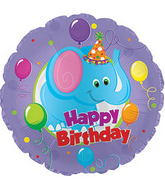 "17"" Happy Birthday Day Party Elephant Balloon"