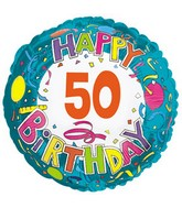 "18"" Happy 50 Birthday Streamers"
