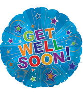 "17"" Get Well Soon Silver Burst Balloon Packaged"