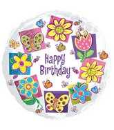 "18"" Happy Birthday Butterflies and Flowers"