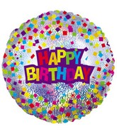 "17"" Happy Birthday Confetti Dazzeloon Packaged"