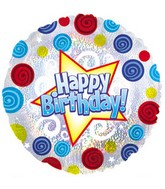 "18"" Happy Birthday Swirls Dots Dazzeloon"