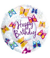 "18"" Happy Birthday Butterflies Clear"