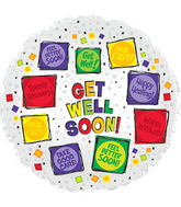 "17"" Get Well Soon Squares Balloon"