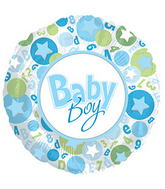 "17"" It�s A Boy Stars In Circle Balloon"