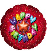 "9"" Airfill Happy Birthday Balloon Type Red M51"