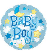 "24"" Baby Boy Clear Bubbles Balloon"