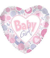 "17"" It�s A Girl Hrts In Circle Balloon"