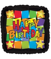 "18"" Happy Birthday Dancing Squares"