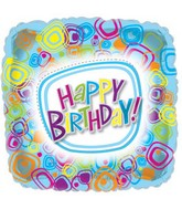 "18"" Groovy Happy Birthday Square Balloon"