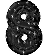 "38"" Black Sparkle Eight Jumbo Number Balloon"