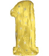 "38"" Gold Sparkle One Jumbo Number Balloon"