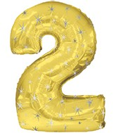 "38"" Gold Sparkle Two Jumbo Number Balloon"