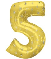 "38"" Gold Sparkle Five Jumbo Number Balloon"