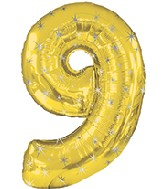 "38"" Gold Sparkle Nine Jumbo Number Balloon"