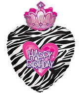 "30"" Happy Birthday Day Zebra Princess Crown"