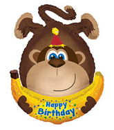 "34"" Happy Birthday Day Monkey W/Banana Balloon"