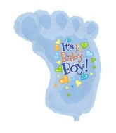 "38"" It's A Boy Baby Foot Shape-A-Loon"