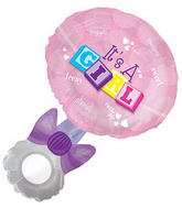 "23.5"" W X 36"" H It&#39s A Girl Rattle Shape Balloon"