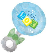 "23.5"" W X 36"" H It&#39s A Boy Rattle Shape Balloon"