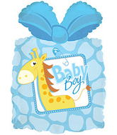 "28"" Baby Boy Present Shape Balloon with Weight"