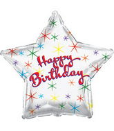 "17"" Happy Birthday Day Multi Color Sparkles Balloon"