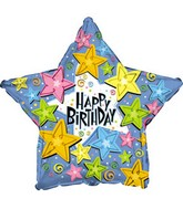 "17"" Star Shaped Birthday Happy Stars Packaged"