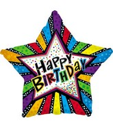 "17"" Happy Birthday Stripes Star Packaged"