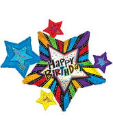 "43"" X 29.5"" Happy Birthday Day Stripes With Stars Balloon"