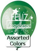 "12"" Assorted Feliz Cumpleanos"" Latex 50&#39s"