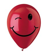 "12"" Crystal Red Winking Smiley Face Latex 50&#39s"
