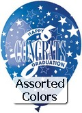 "12"" Assorted  ""Congrats Graduates"" Latex 50&#39s"