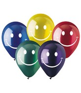 "12"" Crystal Assorted Smiley Face  Latex 50&#39s"