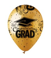 "12"" Metallic Gold ""Congrats Grad"" Latex 50&#39s"