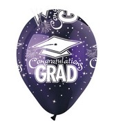 "12"" Standard Purple Congrat Grad Latex 50&#39s"