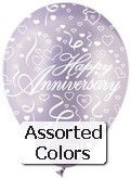 "12"" Pastel Assorted ""Happy Anniversary"" Latex 50&#39s"