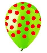 "12"" Lime with Red Polka Dot Latex 50&#39s"