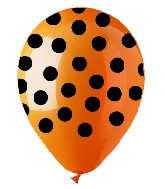 "12"" Orange & Black Polka Dot Latex 50&#39s"