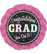 "17"" Grad Chevron Pink Balloon"