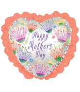 "35"" Happy Mother&#39s Day Coral Ruffle Balloon"