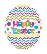 "17"" Chevron Happy Easter Egg Egg Shape Balloon"